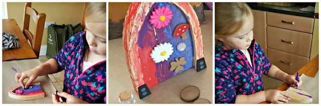 Collage of child enjoying the make Your Own Fairy Door kit