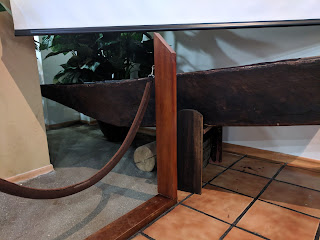 Shuar dugout canoe, bow profile