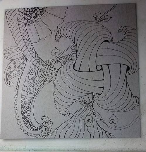 Trelina zentangle before shading
