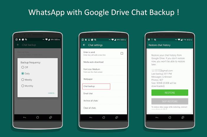 Update WhatsApp v2.12.45 supports Google Drive Backup Chat