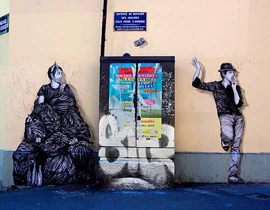 Arte urbano e instalación ingeniosa en calles de París con Levalet