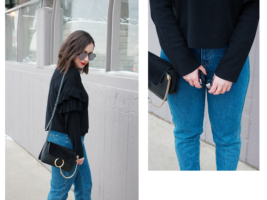 How to style a ruffled sweater