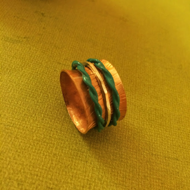 Copper Spinner ring with blue twisted wire spinners