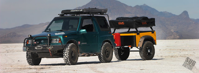 Our Suzuki Sidekick and trailer on the Bonneville Salt Flats