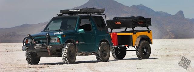Our Suzuki Sidekick and trailer on the Bonneville Salt Flats