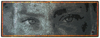 mosaic art portrait of a female Yezidi fighting back ISIS to liberate their land from the barbaric ISIS who enslaved her sisters.