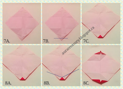 step by step in making valentine's origami kiss
