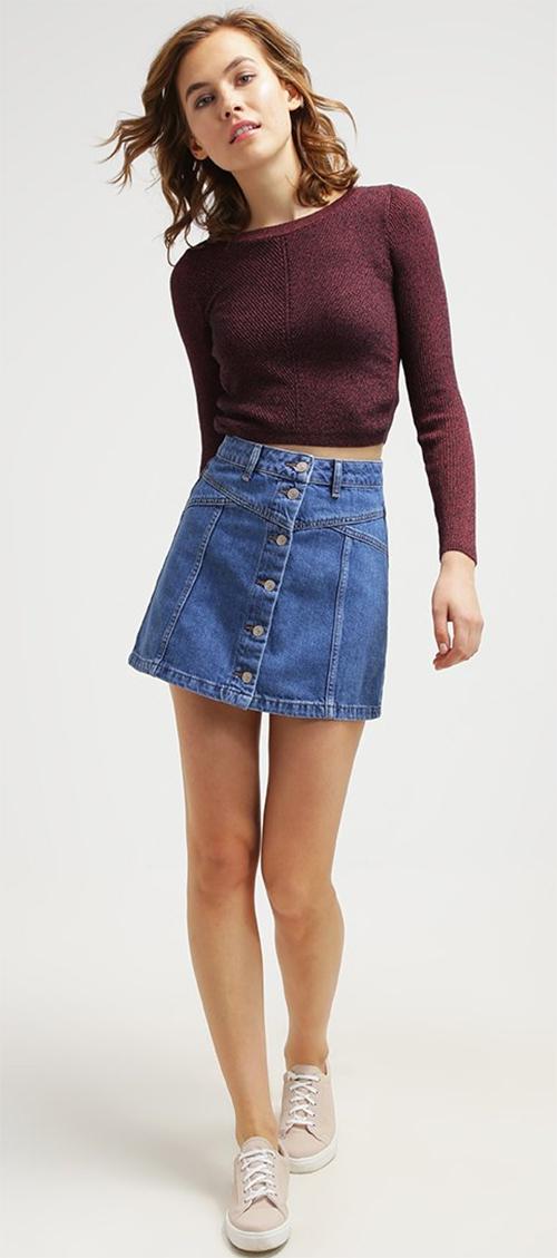 Jupe courte bleue en jean Topshop