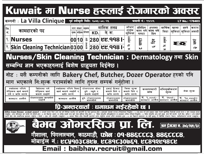 Jobs in Kuwait for Nepali, Salary Rs 99,114