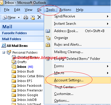 gambar tool setting outlook 2007