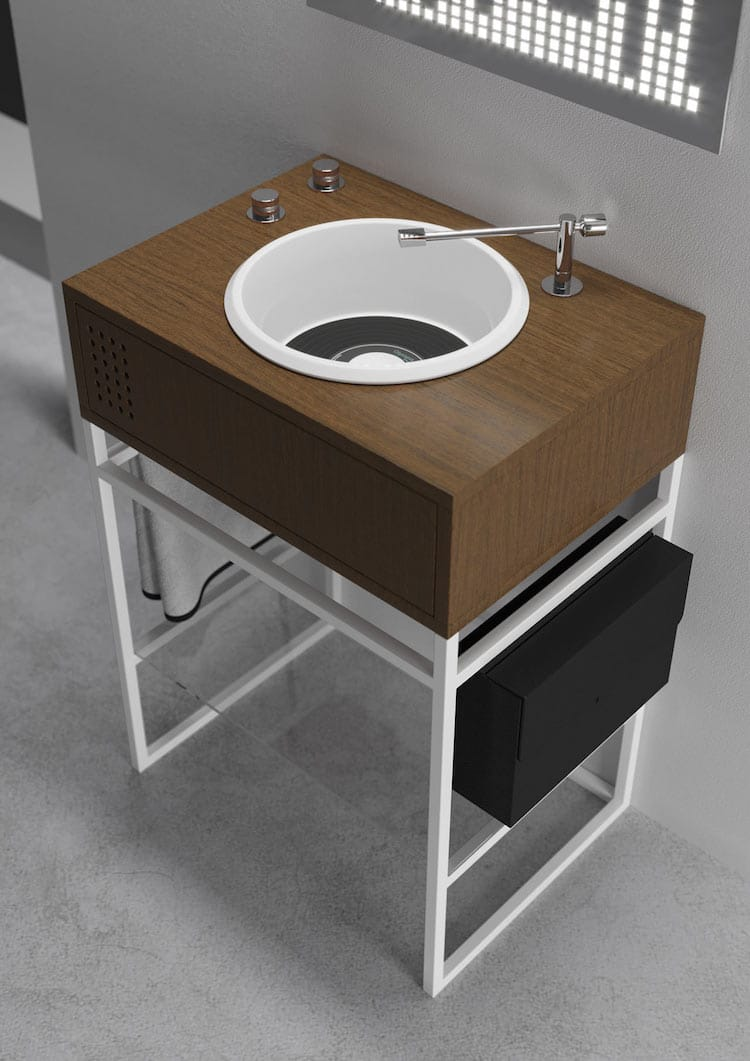 Mesmerizing Pictures Of Vinyl Record-Inspired Bathroom Sinks