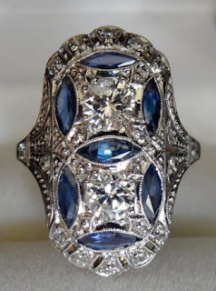 Art Deco diamond and sapphire ring