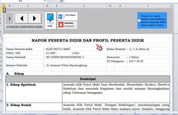 Tampilan Kolom Deskripsi Rapor Kurikulum 2013 Revisi