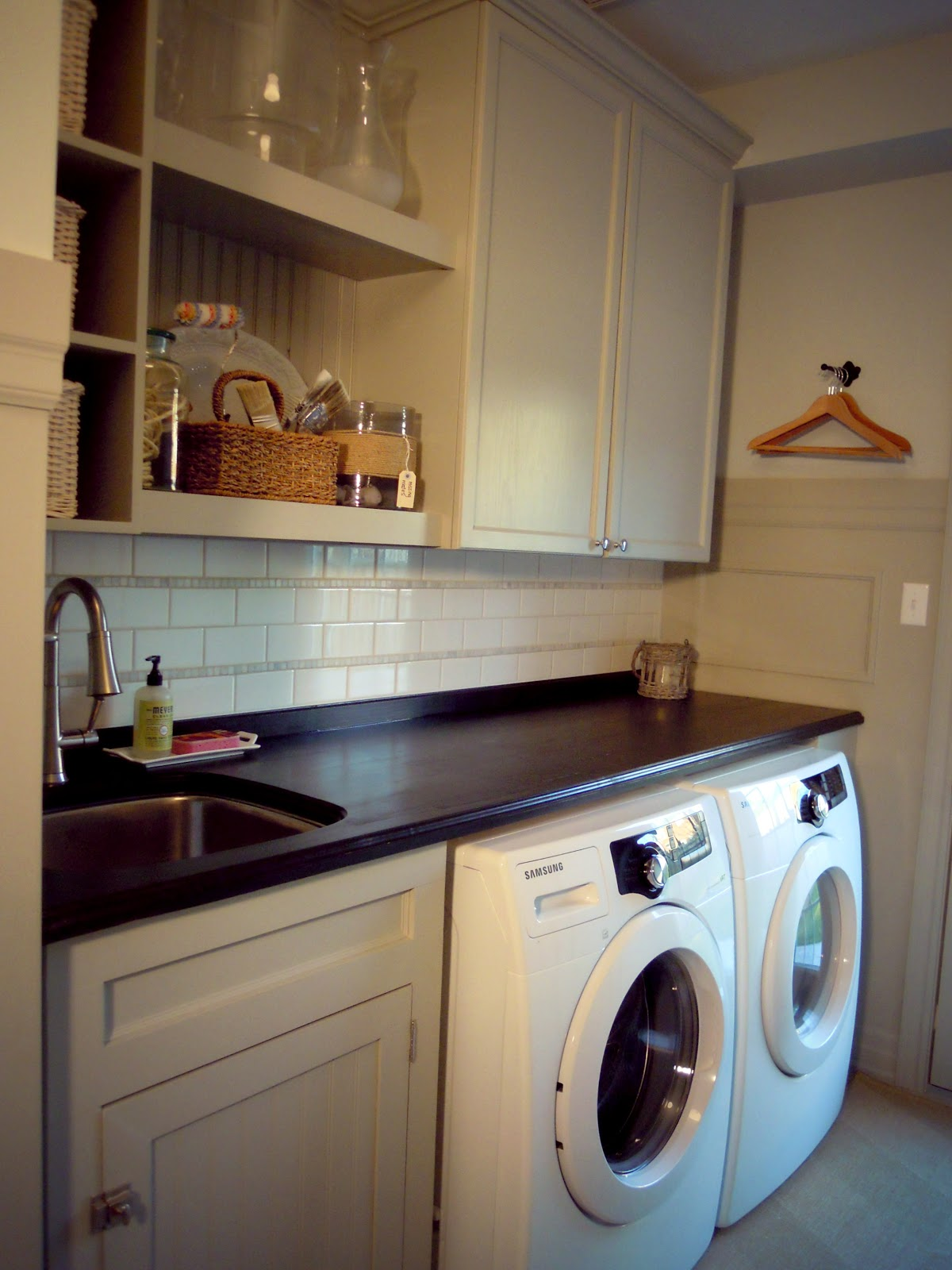White Wood : Completed laundry room on Laundry Cabinet Ideas  id=90660