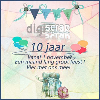 Digiscrap bestaat 10 jaar! Feest en Freebie!