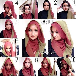 Contoh Foto Hijab Pashmina Dua Warna