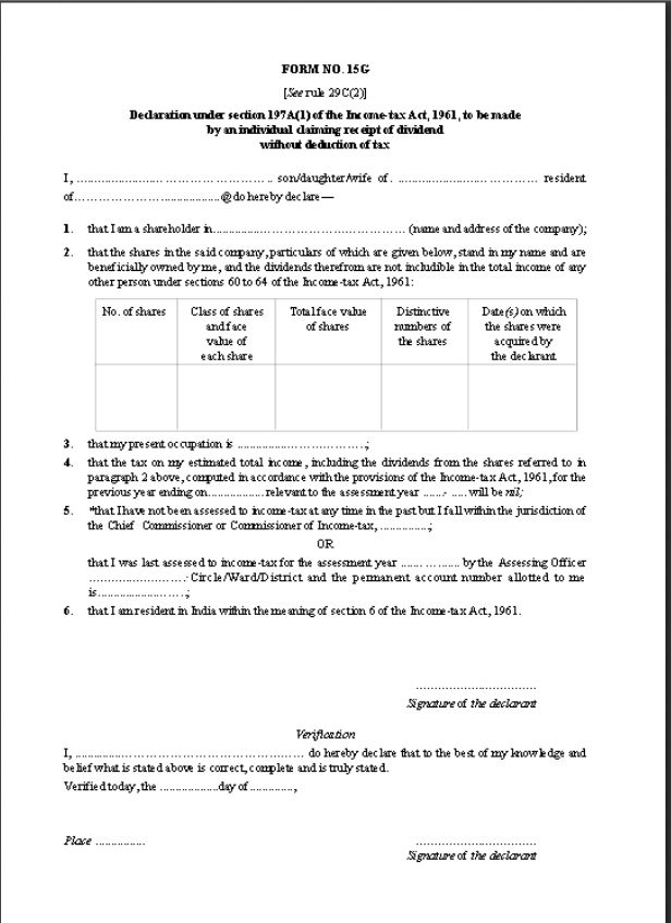 bank of india form 15g