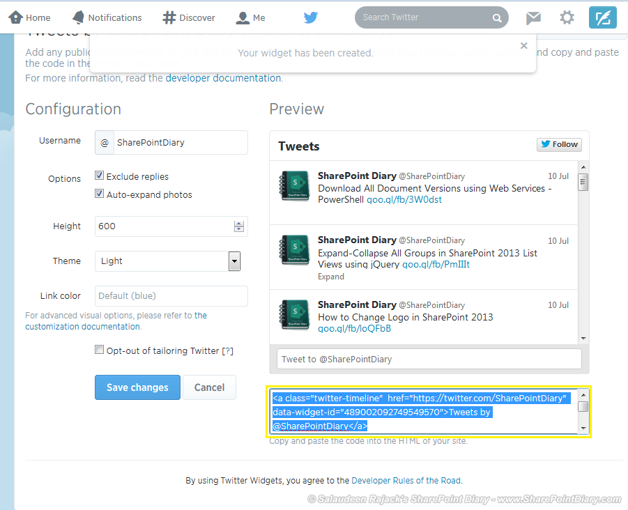 twitter and sharepoint integration