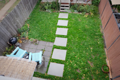 concrete rectangle square path garage backyard walk walkway deck