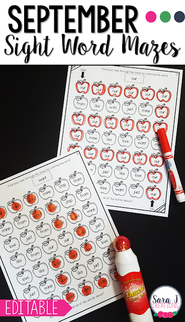 Editable sight word mazes with an apple theme are perfect for September or any fall months. Add your own words and the mazes will be automatically created for you!