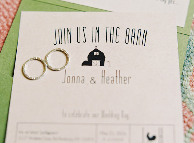 barn wedding handmade stationery by the bride for Jonna and Heather's Inn at West Settlement Wedding by Karen Hill Photography