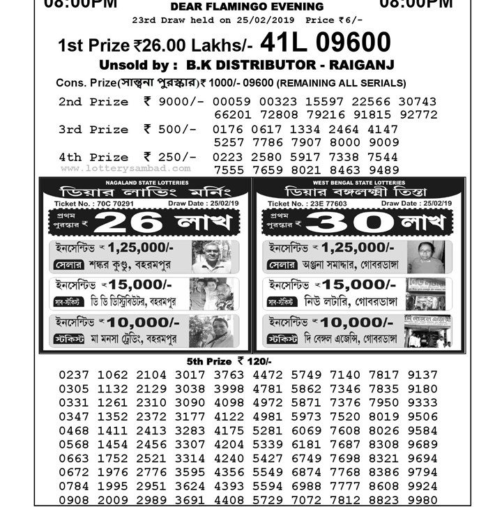 Nagaland Lottery Result : 25-02-2019: DEAR FLAMINGO EVENING