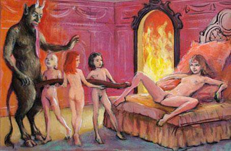 """L'image est une peinture qui montre un diable, tout en fourrure, cornes et sabots, qui arbore deux queues, une a l'arriere, telle qu'un animal tout ce qu'il y a de plus classique peut l'exhiber, et surtout une autre a l'avant, qui sort davantage de l'ordinaire par ses proportions surdimensionnees. Cette magnifique longue queue est soutenue par trois tres jeunes filles entierement nues, des enfants prepubertes vraisemblablement, qui ont l'air tres appliquee dans leur tache. Une de ces enfants, la plus proche de lui, lève la tete vers la gueule du diable avec une expression que semble d'admiration et de soumission. A noter d'ailleurs que celui-ci tire une longue langue aussi demesuree que son sexe. Le bout du long engin du mephistopheles pointe en direction d'une jeune fille qui semble plus mature, comme tend a le prouver ses seins plus developpes. Cette jeune femme est allongee sur un lit, le buste sureleve par des coussins et presente sa chatte, cuisses ouverte, paraissant attendre avec assurance la penetration du diable. L'expression vicieuse et confiante de son visage montre qu'elle accepte son sort avec joie. La scene prend place dans une piece aux tons roses et oranges, un grand feu crepite a l'arriere-plan dans une cheminee aussi grande qu'une porte. Cette image surprenante illustre admirablement le poeme """"Belzebuth"""" du Marginal Magnifique dans lequel le grand poete compare avec humour le fait d'aller au boulot avec une penetration anale faite par le diable. C'est l'occasion pour le poete de developper de maniere originale ses idees habituelles : lachete des gens, esclavagisme du au travail, besoin de s'evader par la production artistique, etc. Un grand poeme !"""