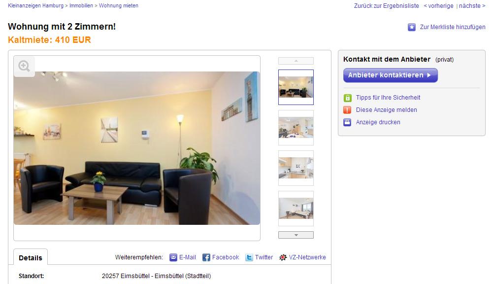 Wohnung mit 2 zimmern 20257 for Eine wohnung mieten