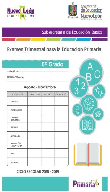 5to grado Examen Trimestral Primer Trimestre Primaria