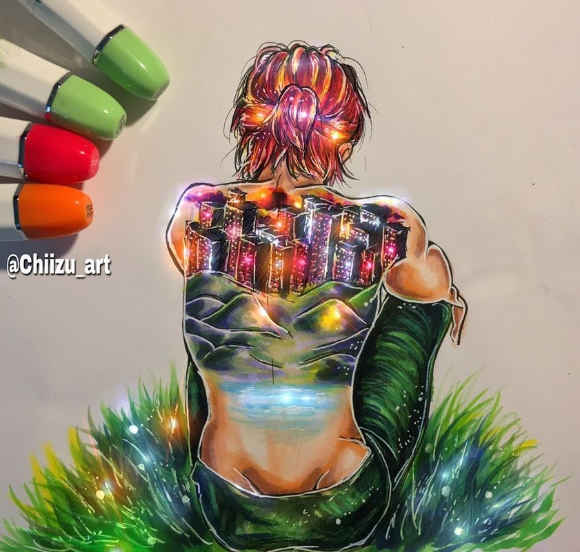 07-Lonely-chiizu-art-Drawing-Dark-Subjects-Bursting-with-Color-www-designstack-co