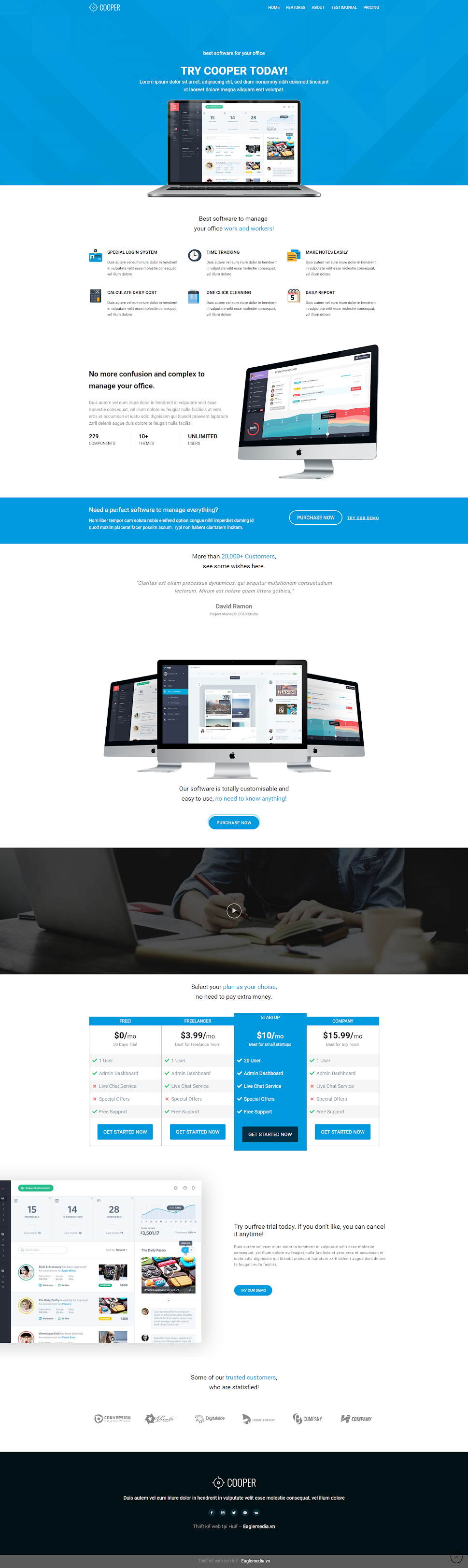 mẫu website landingpage software wn020
