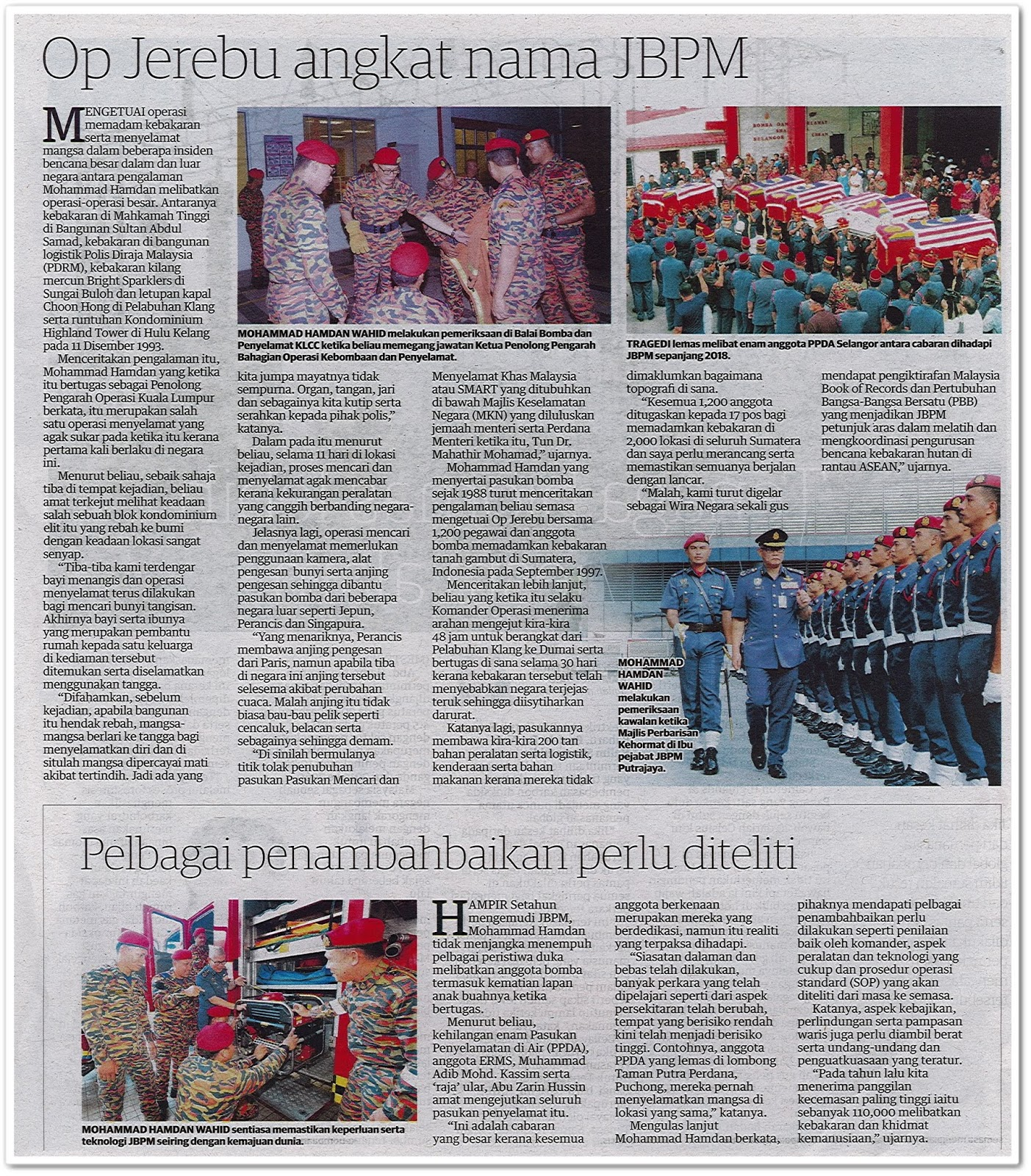 Wira Pembangunan JBPM - Keratan akhbar Utusan Malaysia 7 Mac 2019