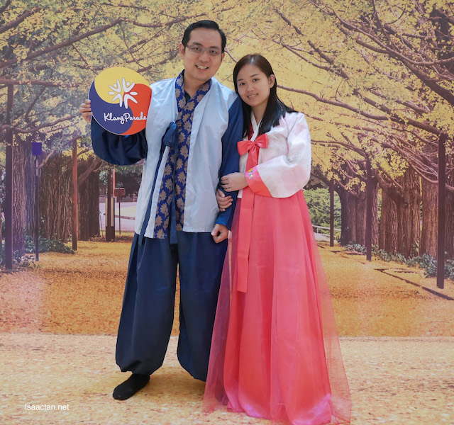 A shot of us wearing our Hanbok traditional costume
