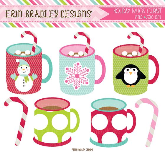 Erin Bradley Designs: Christmas Mugs Clipart & Digital ...