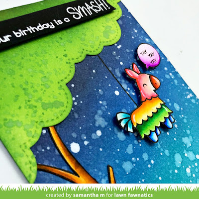 Hope Your Birthday is a Smash Card by Samantha Mann, Lawn Fawnatics Challenge, Lawn Fawn, Distress Inks, Birthday, Cards, Ink Blending, Piñata, #lawnfawn #lawnfawnatics #birthday #cards #pinata #distressinks #inkblending