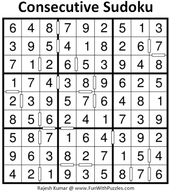 Consecutive Sudoku Puzzle (Fun With Sudoku #201) Solution