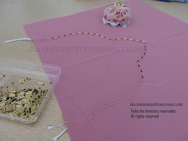 como coser pedrería de adorno