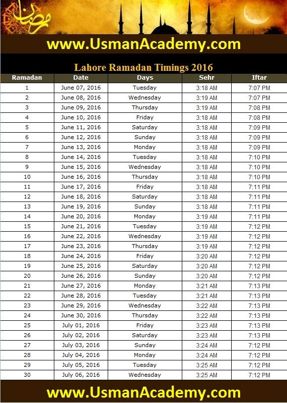 Ramadan Calendar Sehri Iftar Lahore Timings 2018 Ramazan ...