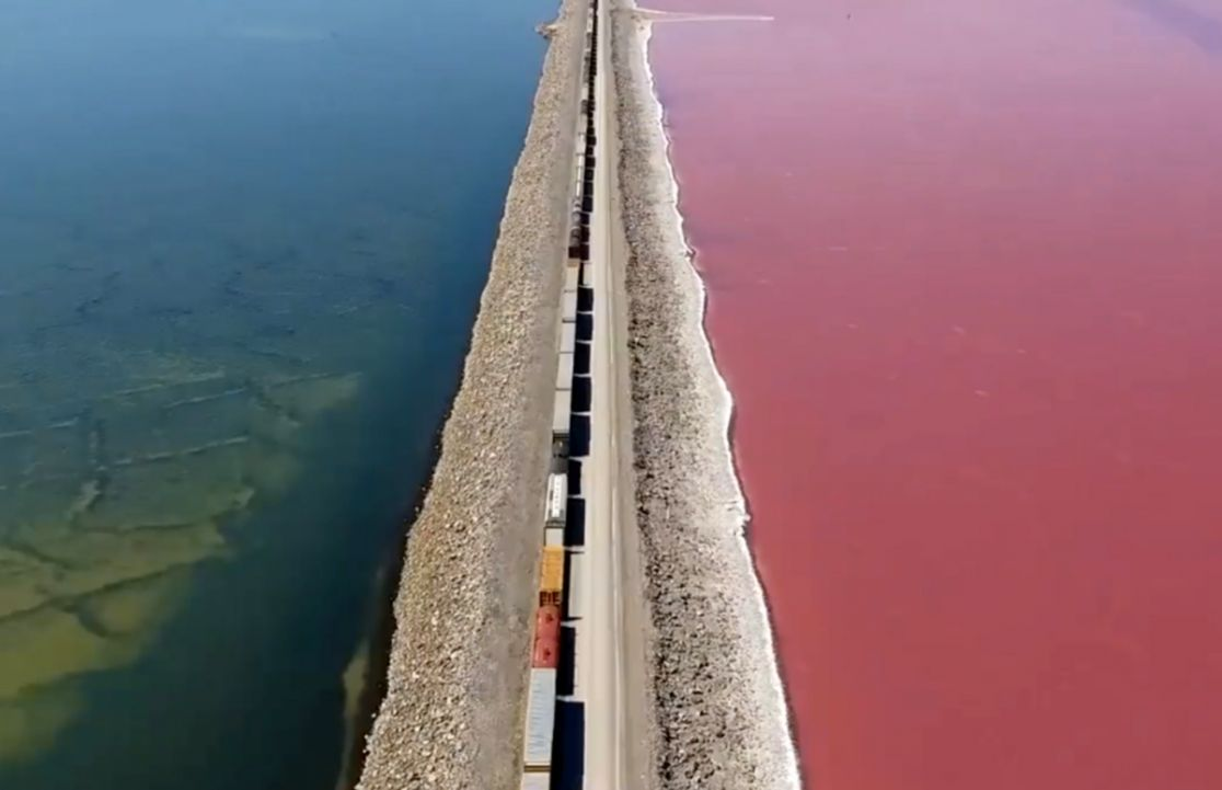 Video Stunning footage shows contrast in color of the Great Salt