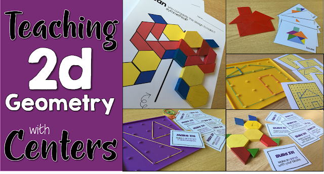 2d geometry centers for first grade using pattern blocks and geoboards