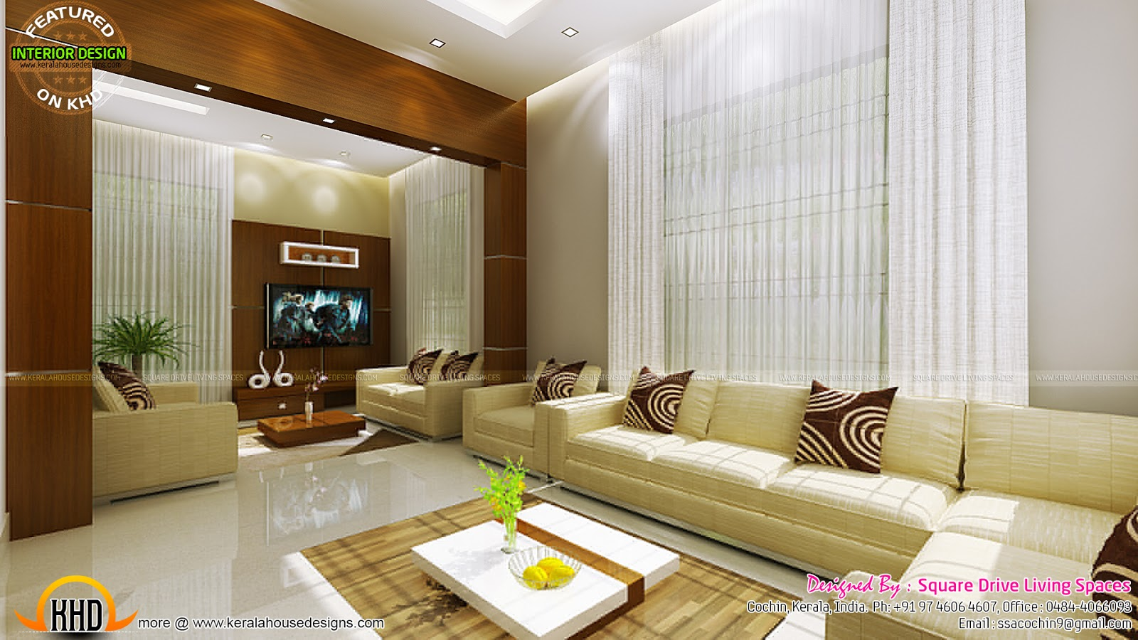 Contemporary kitchen, dining and living room - Kerala home