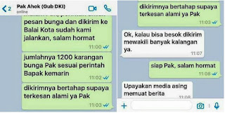 Ahok tantang orang yang buat WhatsApp palsu, Soal Karangan Bunga 2.700