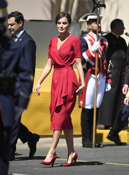 Queen Letizia wore a new crepe midi Suzie dress by Cherubina which is a Seville based Spanish fashion brand