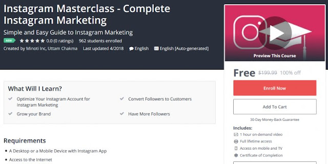 [100% Off] Instagram Masterclass - Complete Instagram Marketing| Worth 199,99$