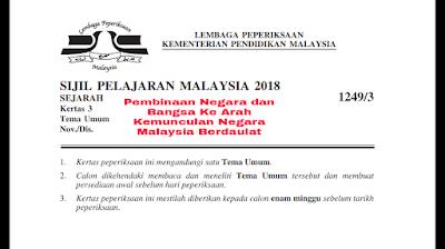 Skema Jawapan Pembinaan Negara dan Bangsa Ke Arah Kemunculan Negara Malaysia Berdaulat Kertas 3 SPM