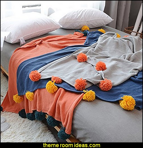 pom pom blankets   bedding - funky cool girls bedding - fashion bedding - girls bedding - teens bedding  - novelty bedding - duvet covers - comforter sets - lace bedding - floral bedding - solid color bedding - fuzzy furry bedding - ruffle bedding - novelty blankets - mermaid blankets - Pompom blanket