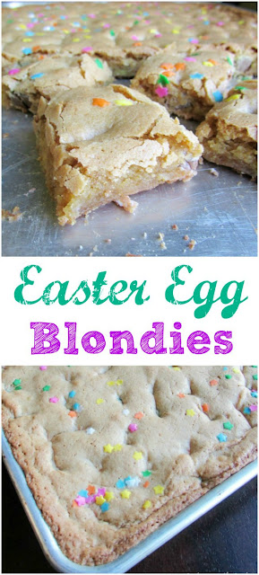 Use that Easter candy to make these fun bars! These blondies are so easy to make, are perfect for a party or crowd. A light crunch top gives way to a chewy middle for the perfect treat!