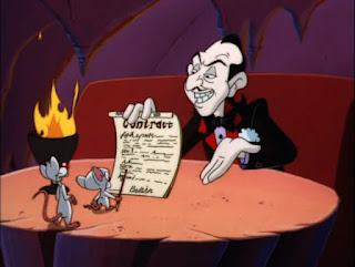 Pinky and the Brain looking at a contract that the devil is holding. In hellllllll! Or as it is referred to in the cartoon: Heck.