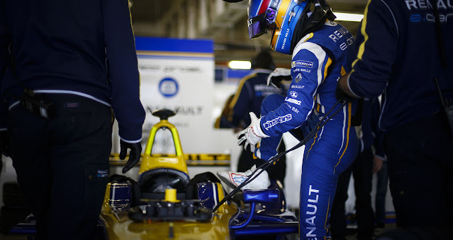 Renault driver Nico Prost in the pits