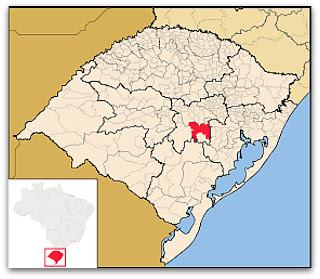 Cidade de Rio Pardo, no mapa do Rio Grande do Sul